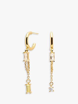 PDPAOLA Salma Baguette Cubic Zirconia Chain Drop Hoop Earrings, Gold