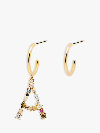 PDPAOLA Cubic Zirconia Initial Asymmetric Hoop Earrings