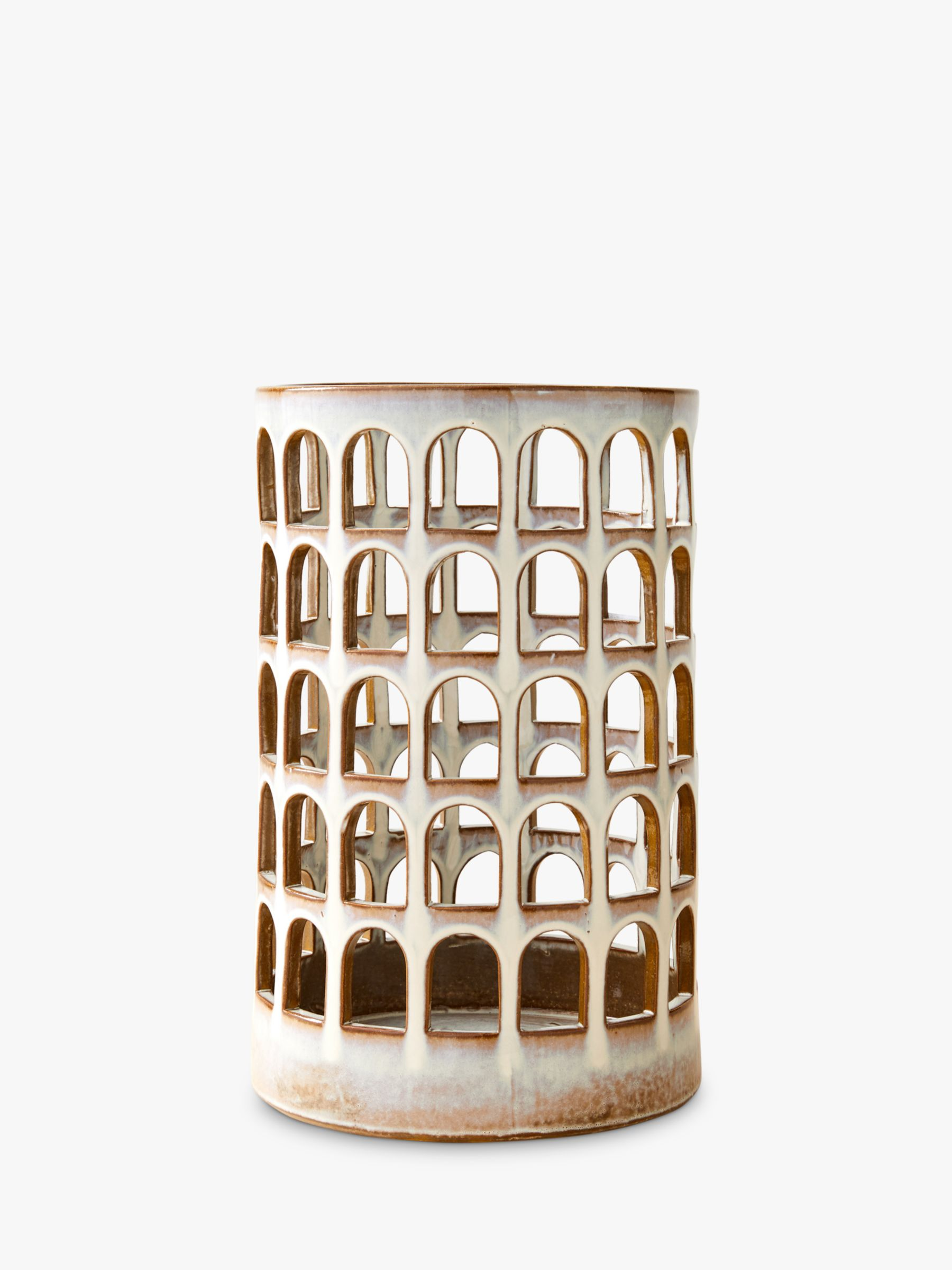 West Elm Colosseo Ceramic Cutout Extra Large Lantern Candle Holder H38cm At John Lewis Partners