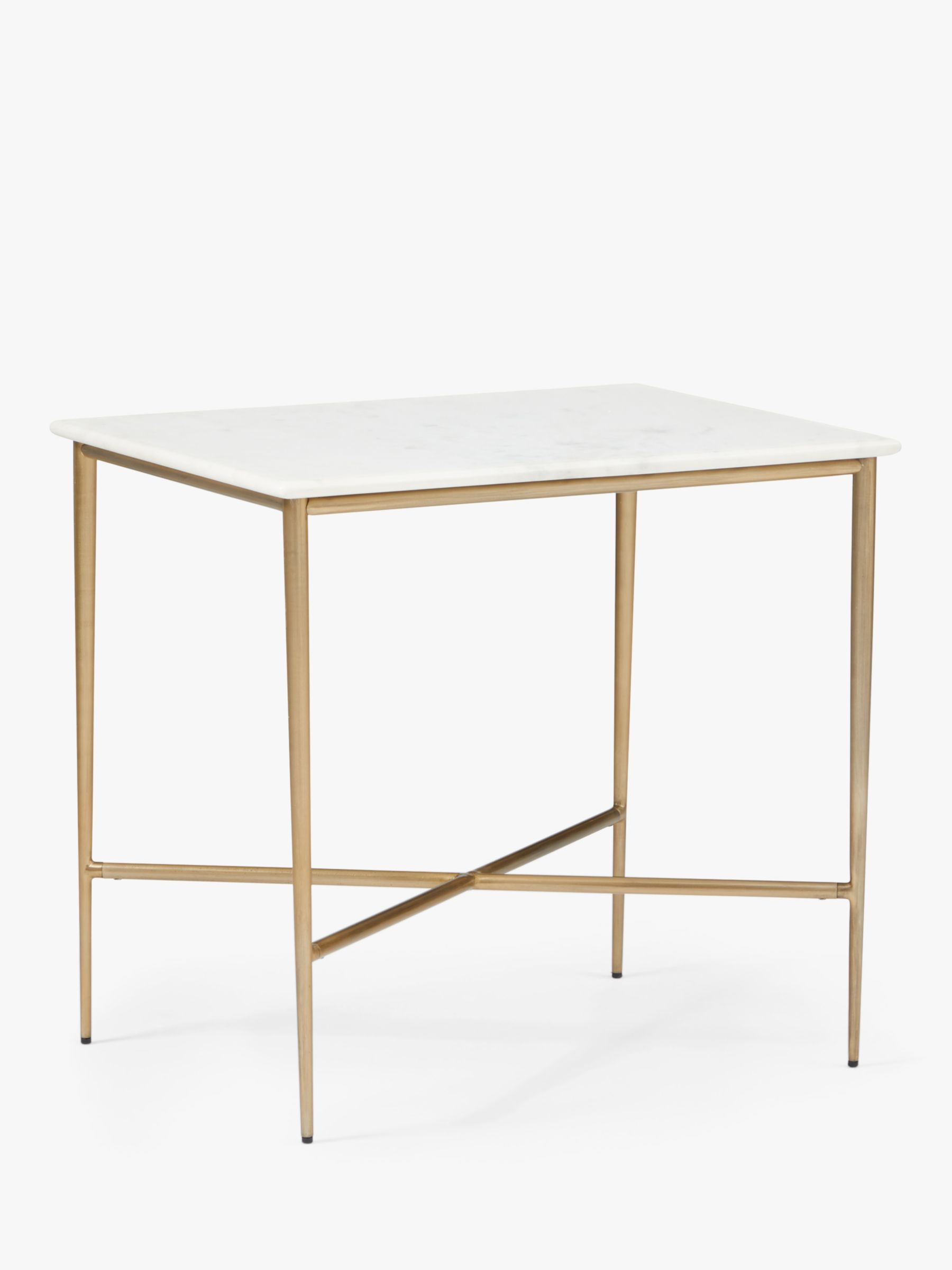West Elm Neve Marble Side Table White Brass At John Lewis Partners