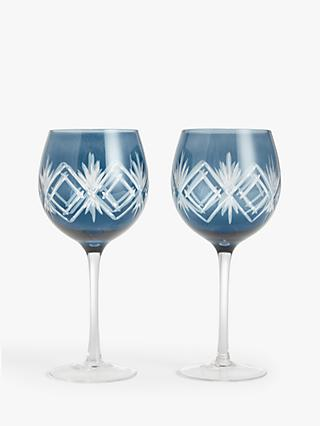 John Lewis & Partners Gift-Boxed Cut Glass Gin Goblets, Set of 2, 500ml, Blue