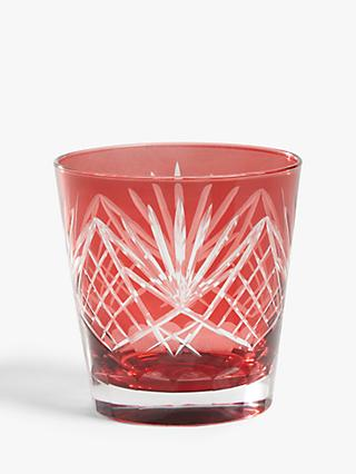 John Lewis & Partners Cut Glass Tumbler, 400ml, Garnet Red