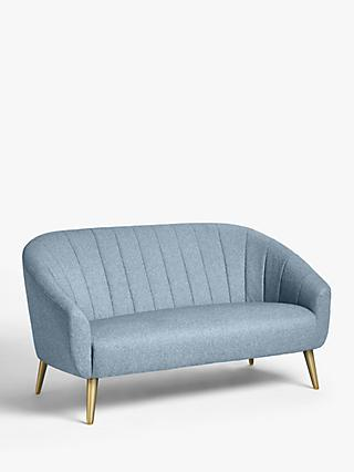 Wave Range, John Lewis & Partners Wave Fluted Petite Sofa, Gold Finish Leg, Relaxed Linen Bluestone