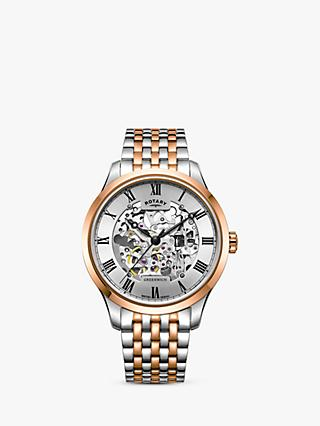Rotary Men's Greenwich Skeleton Bracelet Strap Watch