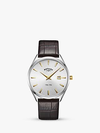 Rotary GS08010/02 Men's Ultra Slim Date Leather Strap Watch, Brown/White