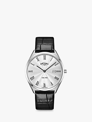 Rotary Men's Ultra Slim Date Leather Strap Watch