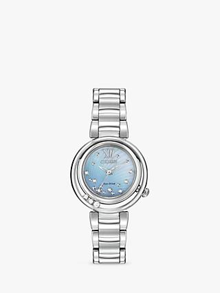 Citizen EM0320-59D Women's Sunrise Diamond Bracelet Strap Watch, Silver/Mother of Pearl