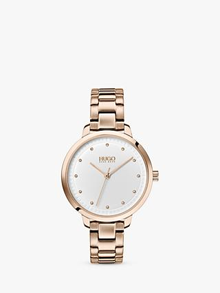 HUGO 1540037 Women's Achieve Bracelet Strap Watch, Gold/White