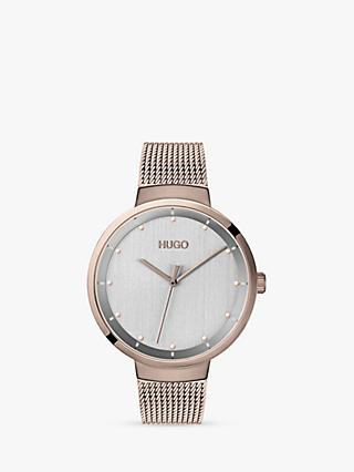 HUGO 1540004 Women's Go Mesh Bracelet Strap Watch, Rose Gold/Silver
