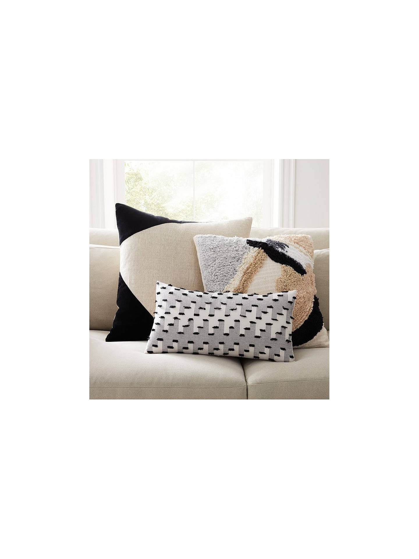 Buy west elm Cotton Linen Velvet Corner Square Cushion, Natural/Black Online at johnlewis.com