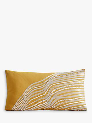 west elm Fluid Lines Lumbar Cushion, Horseradish