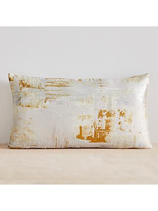 west elm Artsy Brocade Cushion, Dark Horeseradish