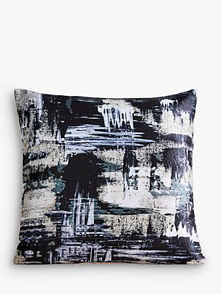 west elm Artsy Brocade Cushion, Black