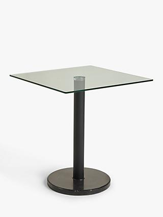 House by John Lewis Enzo 2 Seater Glass Square Dining Table, Black Marble
