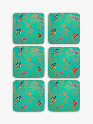 Sara Miller Chelsea Collection Cork-Backed Birds Coasters, Set of 6, Green/Multi