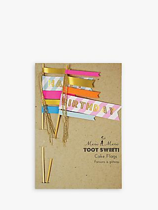 Meri Meri Toot Sweet! Happy Birthday Cake Flags, Set of 2