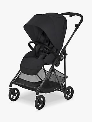 Cybex Melio Carbon Stroller, Deep Black and car seat, base, adapter, carrycot, footmuff and cup holder bundle