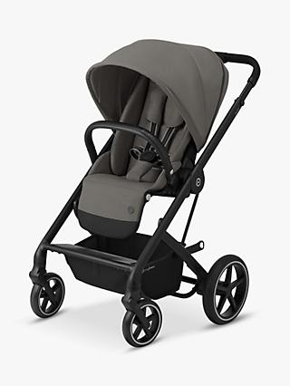 Cybex Balios S Lux Pushchair, Soho Grey and car seat, base, adapter, carrycot, footmuff and cup holder bundle