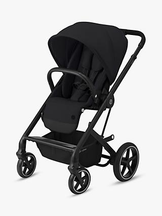 Cybex Balios S Lux Pushchair, Deep Black and car seat, base, adapter, carrycot, footmuff and cup holder bundle