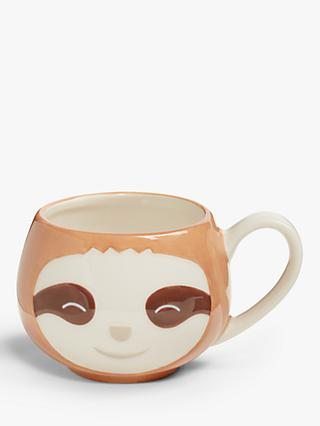 John Lewis & Partners Animals Sloth Mug, 250ml, Brown