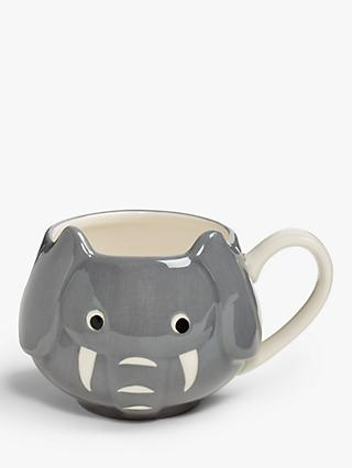 John Lewis & Partners Animals Elephant Mug, 250ml, Grey
