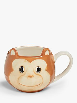 John Lewis & Partners Animals Monkey Mug, 250ml, Brown