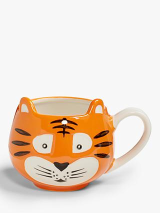 John Lewis & Partners Animals Tiger Mug, 250ml, Orange