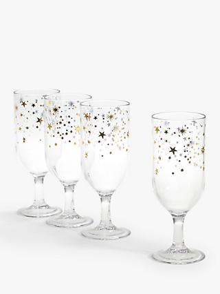 John Lewis & Partners Star Pattern Plastic Champagne Flutes, Set of 4, 140ml, Gold/Clear