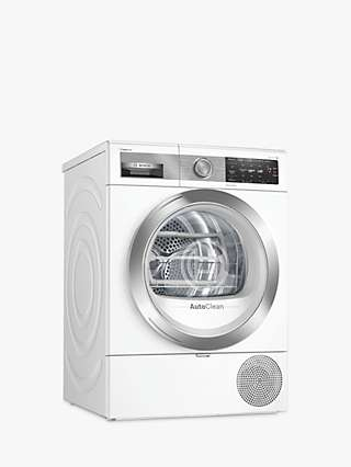 Bosch Serie 8 WTX88EH9GB Heat Pump Tumble Dryer, 9kg Load, A+++ Energy Rating, White
