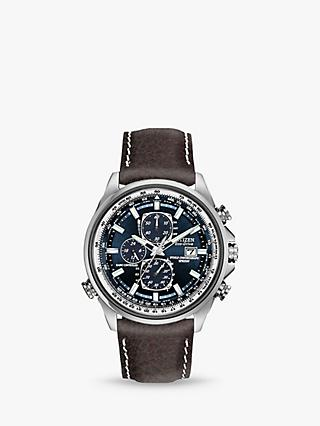 Citizen AT8021-01L Men's Eco-Drive Chronograph World Time Leather Strap Watch, Brown/Blue