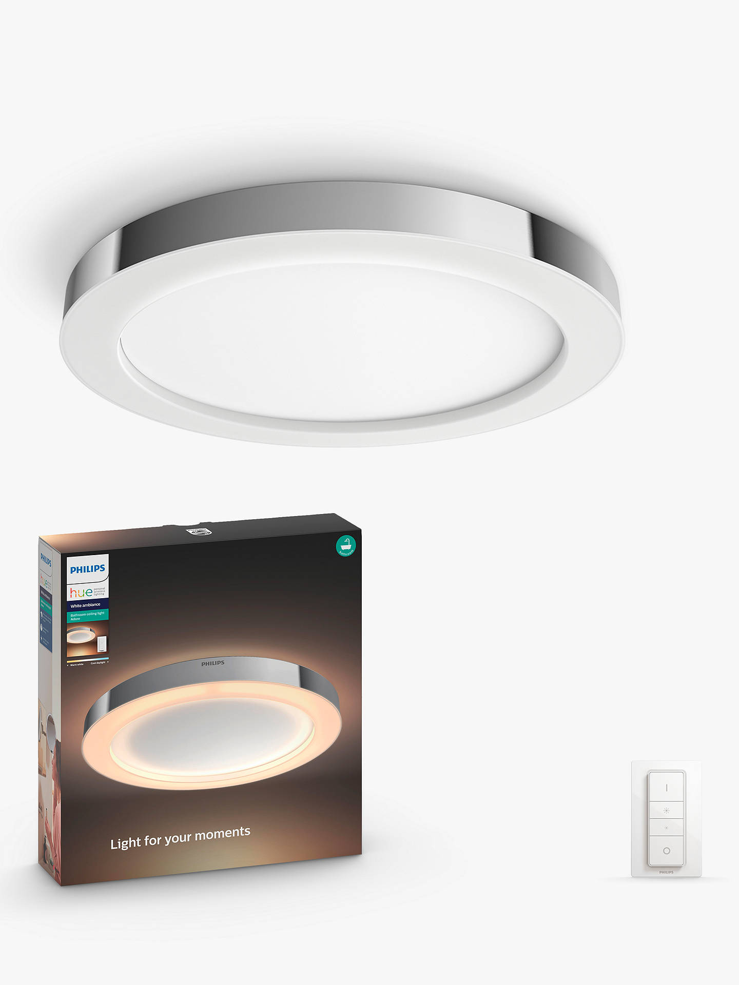 Philips Hue White Ambiance Adore Led Semi Flush Bathroom Ceiling Light And Dimmer Switch Chrome