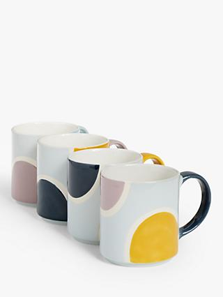 John Lewis & Partners Circles Stackable Mugs & Stand, Set of 4, 300ml, Multi