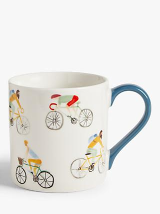 John Lewis & Partners Hobbies Cycling Mug, 350ml, White/Multi