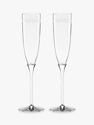 kate spade new york Key Court Champagne Flutes, 147ml, Set of 2