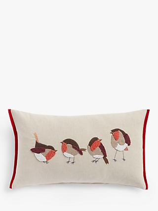 John Lewis & Partners French Knot Christmas Robins Cushion, Multi