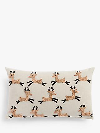 John Lewis & Partners French Knot Reindeer Cushion, Natural