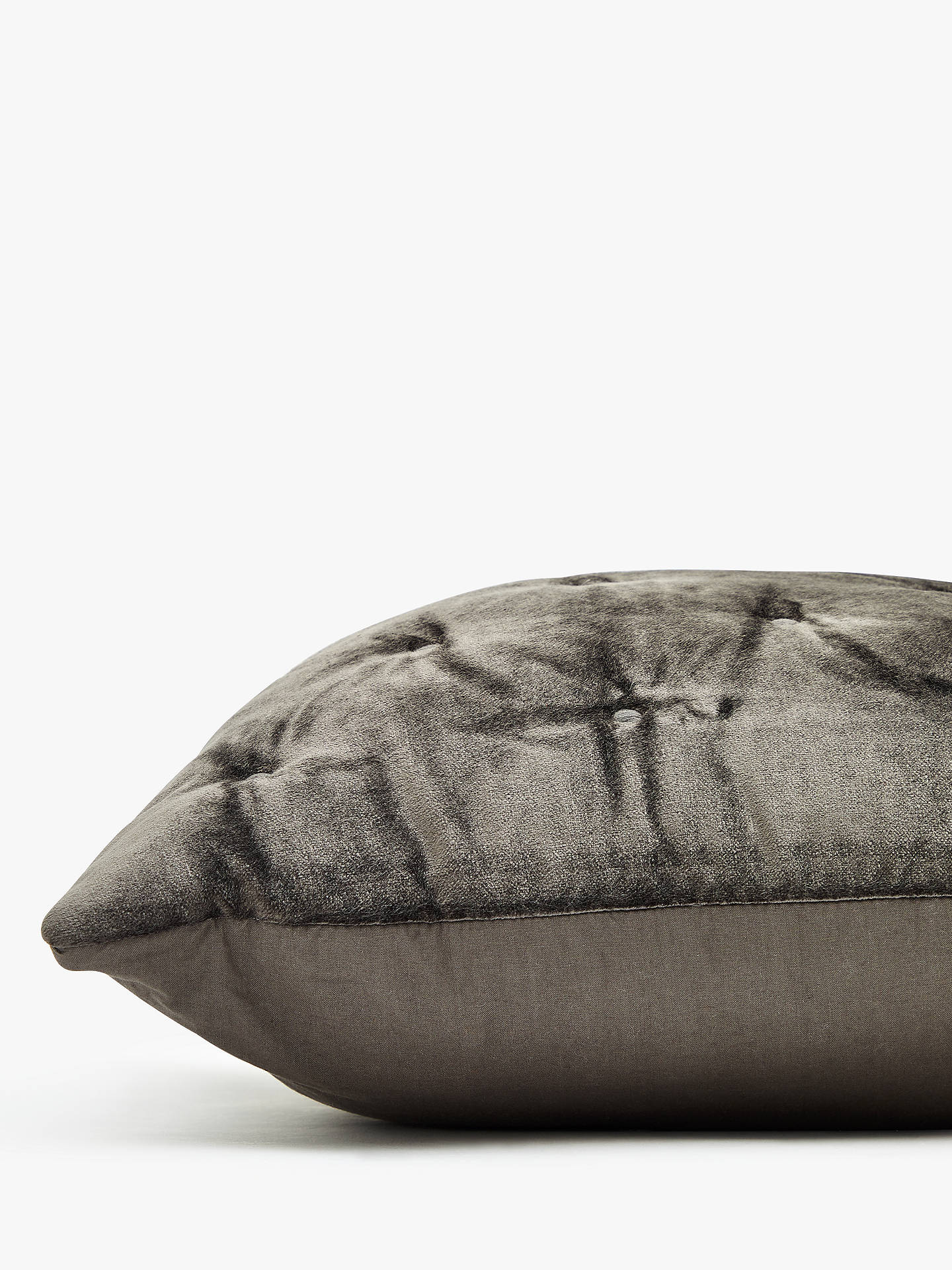 Buy John Lewis & Partners Velvet Stitch Small Cushion, Steel Online at johnlewis.com