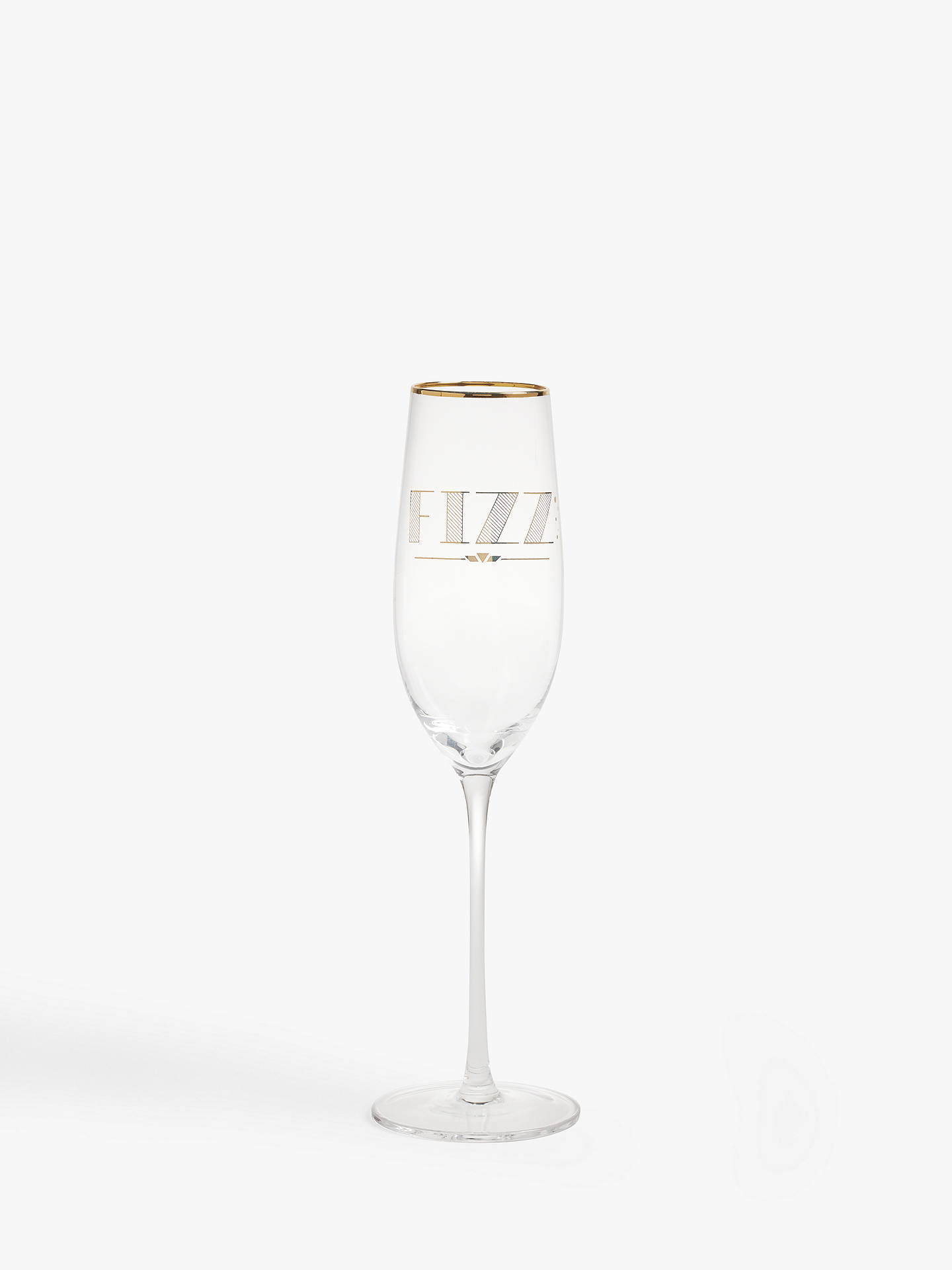 Buy John Lewis & Partners Art Deco 'Fizz' Slogan Champagne Flute, 220ml, Gold Online at johnlewis.com
