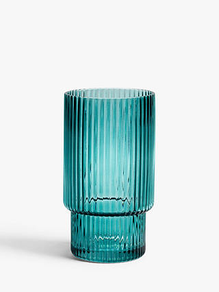 Buy John Lewis & Partners Ribbed Highball Glass Tumblers, 400ml, Mallard Green Online at johnlewis.com