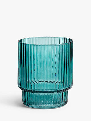 Buy John Lewis & Partners Ribbed Glass Tumblers, 350ml, Mallard Green Online at johnlewis.com