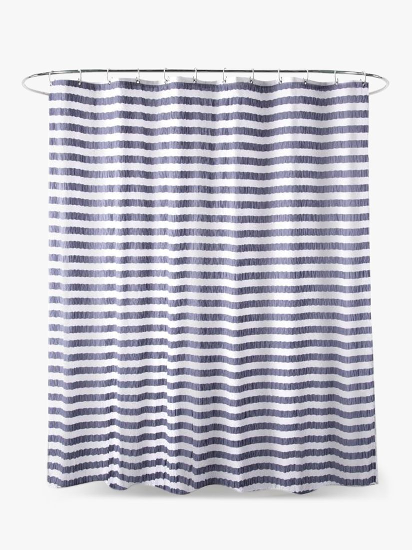 John Lewis & Partners Textured Seersucker Stripe Shower Curtain