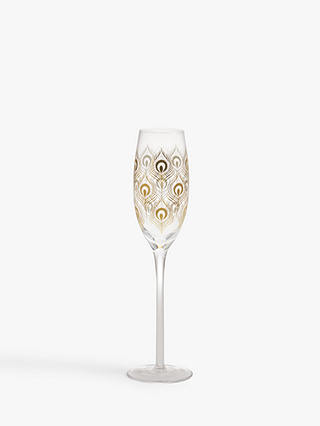 Buy John Lewis & Partners Peacock Feather Champagne Flute, 200ml, Clear/Gold Online at johnlewis.com