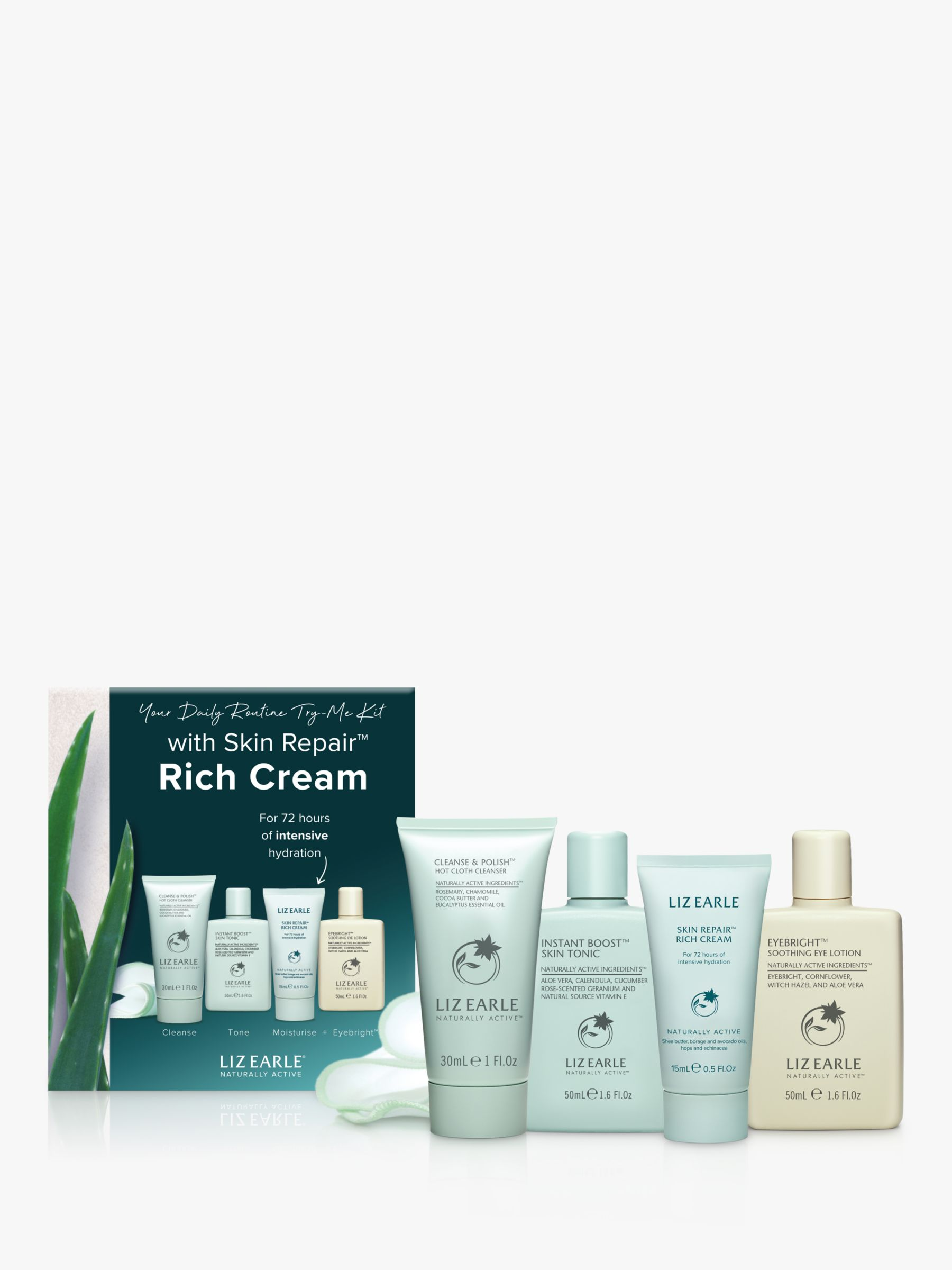 Liz Earle Your Daily Routine Try Me Kit With Skin Repair Rich Cream At John Lewis Partners