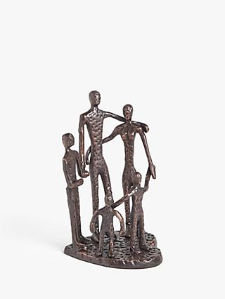 John Lewis & Partners Heart Family Aluminum Sculpture, H28cm, Bronze