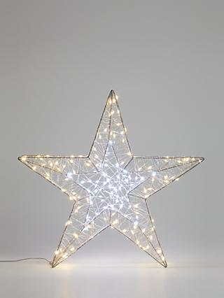 John Lewis & Partners 200 LED 3D Star Light, Silver