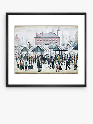LS Lowry - Market Scene Northern Town 1939 Framed Print & Mount, 37.7 x 40.5cm, Multi