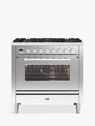 ILVE Roma P096WE3/SS Single Oven Dual Fuel Range Cooker, A+ Energy Rating, Stainless Steel