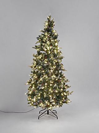 John Lewis & Partners Delamere Pre-Lit Frosted Berry & Pine Cone Christmas Tree, 7ft