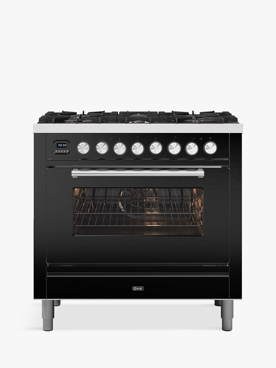 Buy ILVE Roma P096WE3/MG Single Oven Dual Fuel Range Cooker, A+ Energy Rating, Matt Graphite Online at johnlewis.com