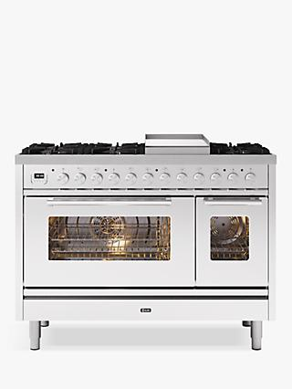 ILVE Roma P12FWE3/SS Double Oven Dual Fuel Range Cooker, A+ Energy Rating, Stainless Steel